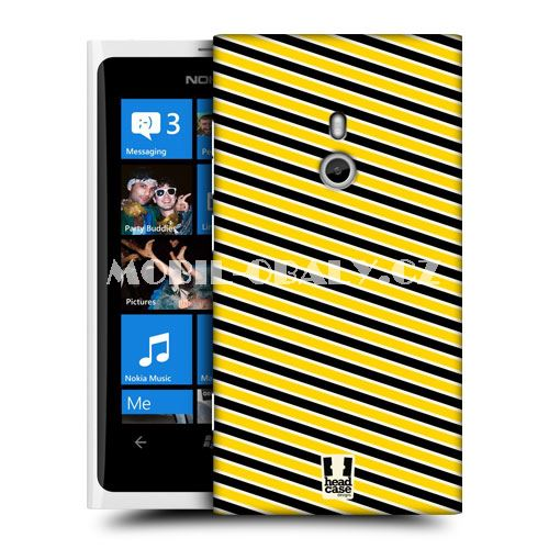 HEAD CASE obal na mobil Nokia Lumia 800 žlutá barva včelí pruhy