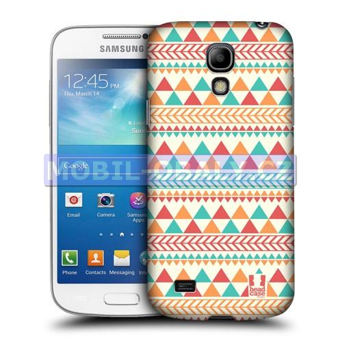 HEAD CASE pouzdro na mobil Samsung galaxy S4 mini Aztécký vzor červená a oranžová