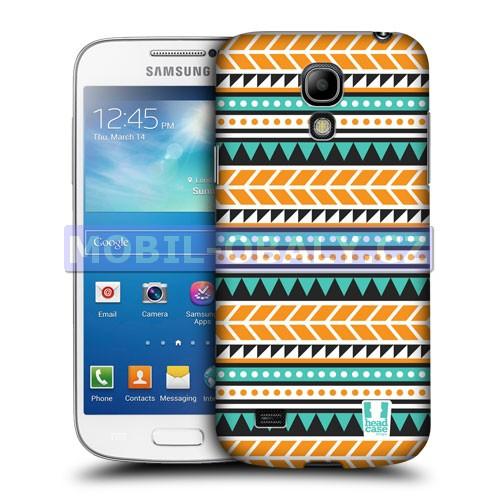 HEAD CASE pouzdro na mobil Samsung galaxy S4 mini Aztécký vzor oranžová a zelená