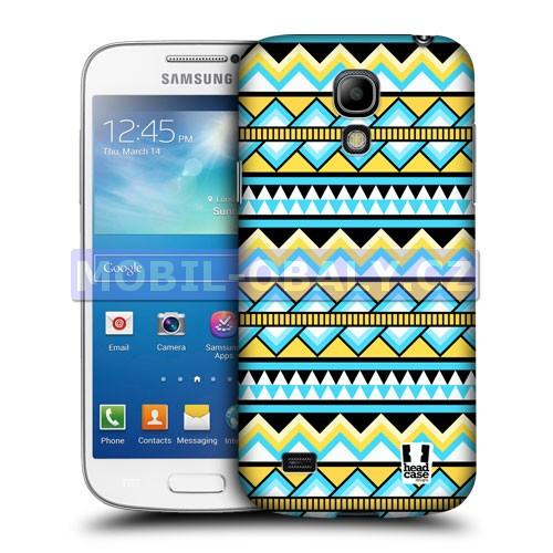 HEAD CASE pouzdro na mobil Samsung galaxy S4 mini Aztécký vzor žlutá a modrá