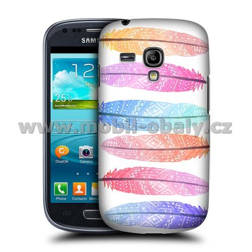 HEAD CASE pouzdro na mobil Samsung galaxy S3 mini barevné pírka růžová