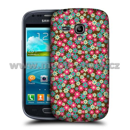 HEAD CASE pouzdro na mobil Samsung galaxy S3 MINI i8190 květinový vzor růžová modrá hnědá
