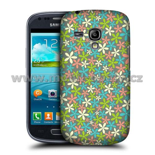 HEAD CASE pouzdro na mobil Samsung galaxy S3 mini květinový vzor modrá a růžová
