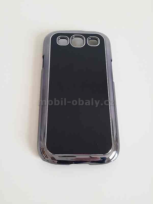 Obal na mobil Samsung Galaxy i9300 S3 pevný plast černá barva kovový vzhled