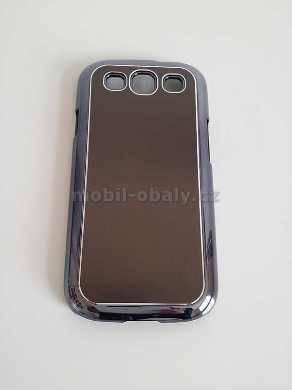 SLEVA Obal na mobil Samsung Galaxy S3 pevný plast hnědá barva kovový vzhled