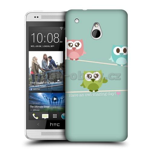HEAD CASE obal na mobil HTC one MINI sovičky na stromě zelená modrá a růžová