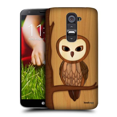 HEAD CASE pouzdro na mobil LG G2 vzor dřevěný SOVA
