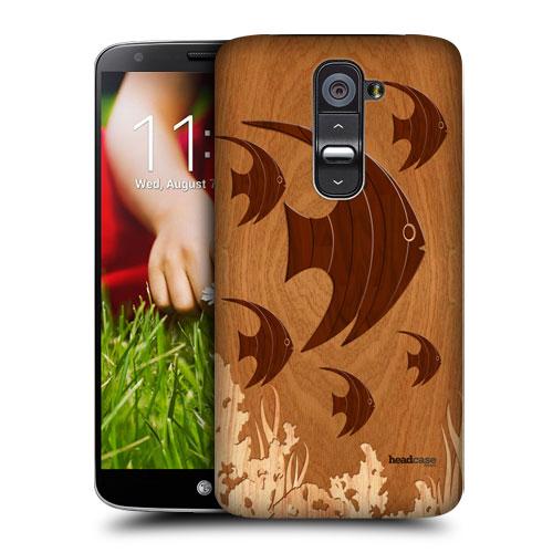 HEAD CASE pouzdro na mobil LG G2 vzor dřevěný RYBIČKY