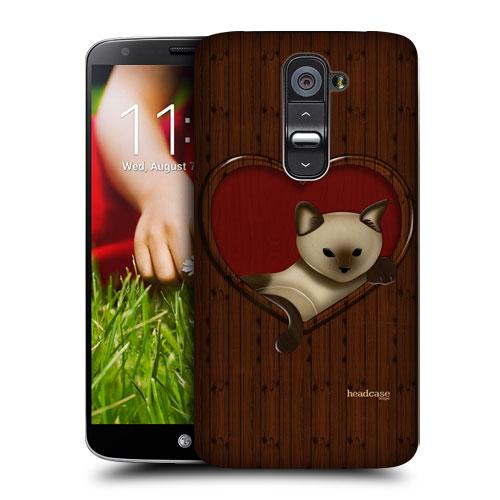 HEAD CASE pouzdro na mobil LG G2 vzor dřevěný ROMANTIC Kočka SRDCE