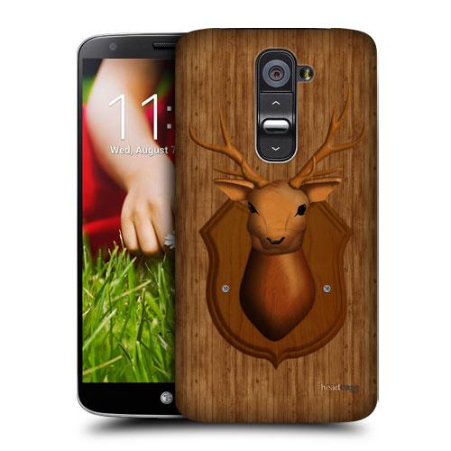 HEAD CASE pouzdro na mobil LG G2 vzor dřevěný JELEN TROFEJ
