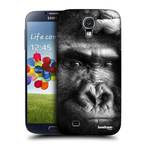HEAD CASE pouzdro na mobil Samsung galaxy S4 příroda zvířata gorila černobílá barva