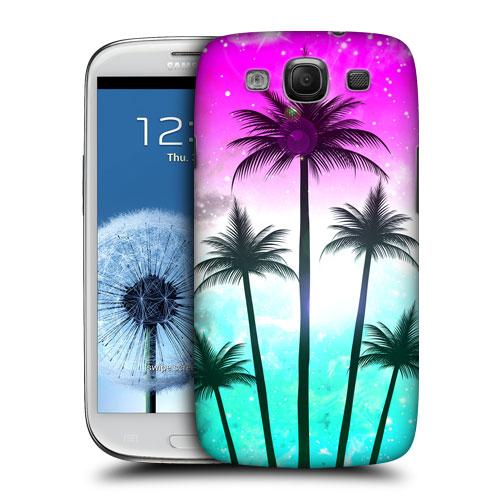 HEAD CASE obal na mobil Galaxy S3 i9300 silueta ostrov barevný růžová a modrá