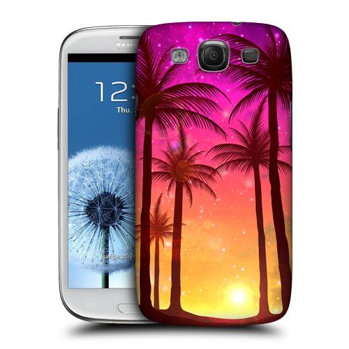 HEAD CASE obal na mobil Galaxy S3 i9300 silueta ostrov barevný růžová západ slunce