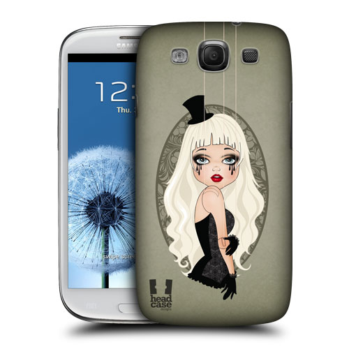 HEAD CASE obal na mobil Samsung Galaxy i9300 S3 pevný plast zelená barva malá blondýna