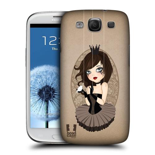 HEAD CASE obal na mobil Samsung Galaxy i9300 S3 pevný plast béžová barva malá princezna