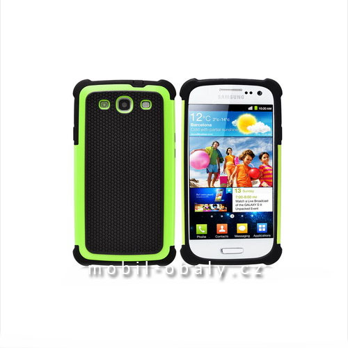 Pouzdro Shockproof na mobil Samsung Galaxy S3 / S3 NEO zelená outdoor