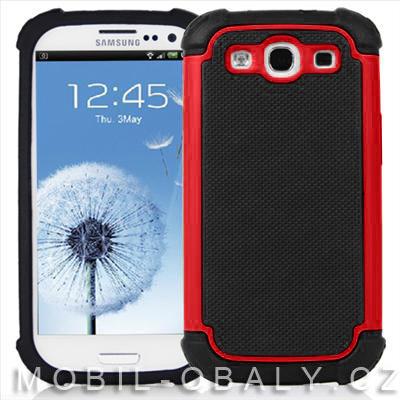 Pouzdro Shockproof na mobil Samsung Galaxy S3 červená outdoor