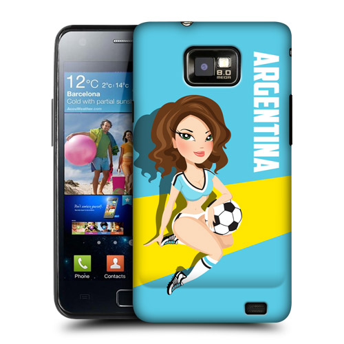 HEAD CASE Obal na mobil Samsung Galaxy i9100 S2 mistrovství světa fotbal Fanynka ARGENTINA modrá