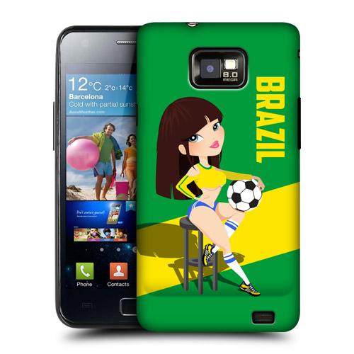 HEAD CASE obal na mobil Samsung Galaxy i9100 S2 mistrovství světa fotbal Fanynka Brazílie zelená
