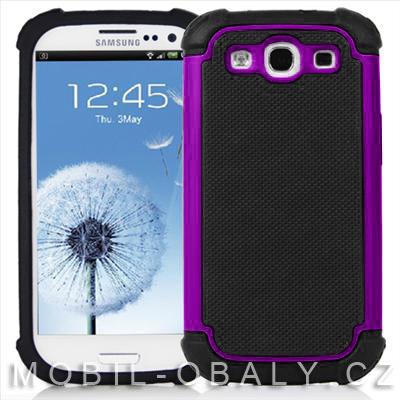 Pouzdro na mobil Samsung Galaxy S3 / S3 NEO fialová outdoor + fólie zdarma