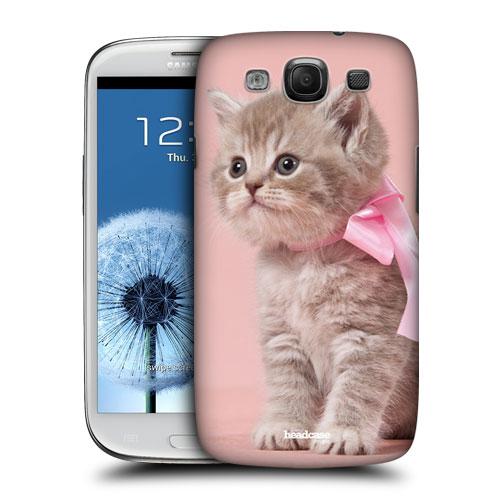 HEAD CASE obal na mobil Galaxy S3 i9300 kočičky roztomilé koťátko růžová mašle