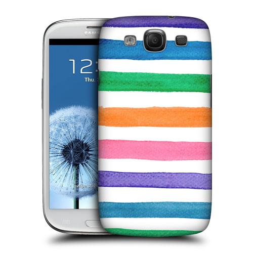 HEAD CASE obal na mobil Galaxy S3 i9300 vodovky barevné pruhy růžová modrá a oranžová