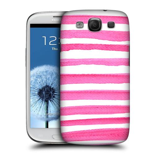 HEAD CASE obal na mobil Galaxy S3 i9300 vodovky barevné pruhy růžová a bílá