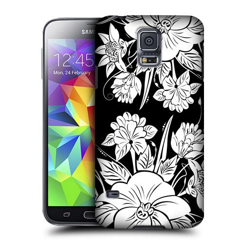 HEAD CASE obal na mobil Samsung Galaxy S5 černobílá květina vzor džungle