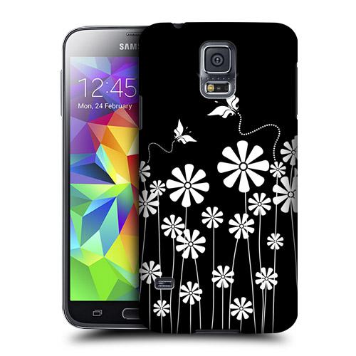 HEAD CASE obal na mobil Samsung Galaxy S5 černobílá květina vzor motýlek