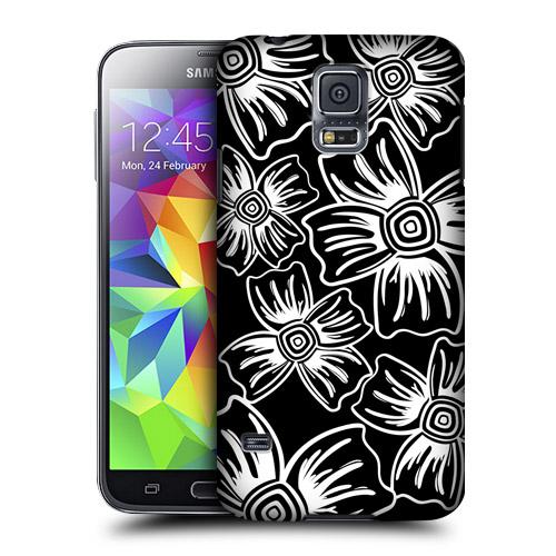 HEAD CASE obal na mobil Samsung Galaxy S5 černobílá květina vzor karafiát