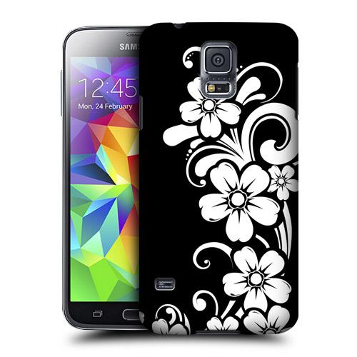 HEAD CASE obal na mobil Samsung Galaxy S5 černobílá květina vzor sedmikráska