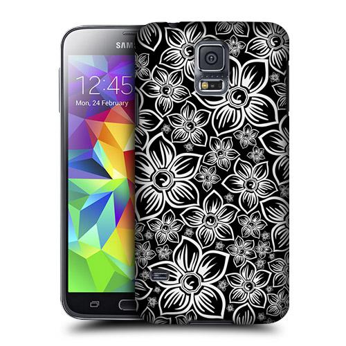 HEAD CASE obal na mobil Samsung Galaxy S5 černobílá květina vzor kopretina