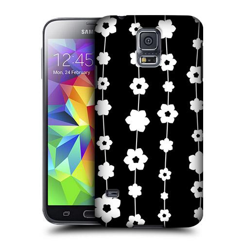 HEAD CASE obal na mobil Samsung Galaxy S5 černobílá květina vzor řetěz