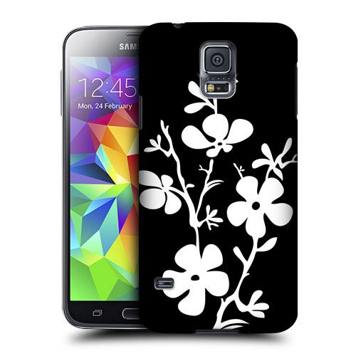 HEAD CASE obal na mobil Samsung Galaxy S5 černobílá květina vzor rozkvetlá třešeň