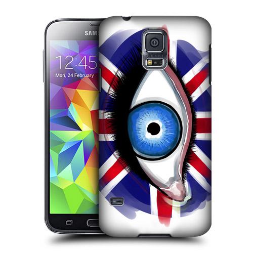 HEAD CASE obal na mobil Samsung Galaxy S5 vzor magické oko vlajka Velká Británie