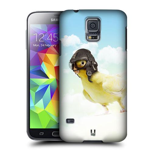 HEAD CASE obal na mobil Samsung Galaxy S5 vzor srandovní zvířátka ptáček letec žlutá letka