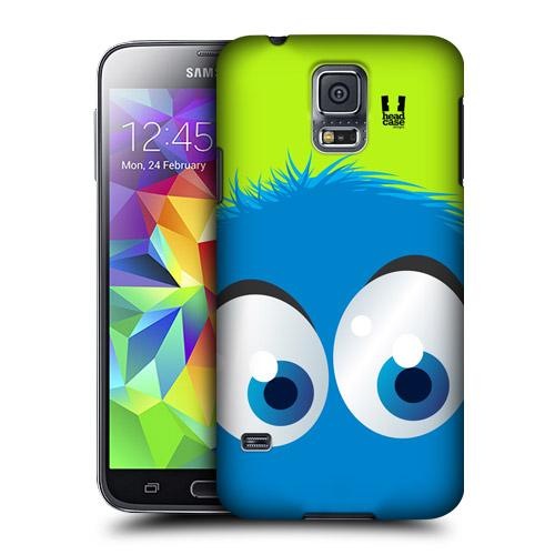 HEAD CASE obal na mobil Samsung Galaxy S5 vzor modrý smajlík zelené pozadí