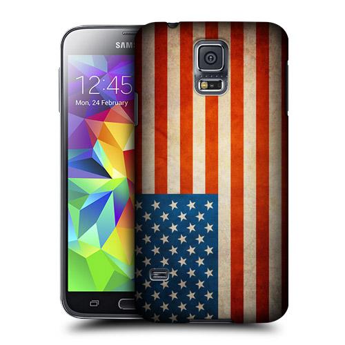 HEAD CASE obal na mobil Samsung Galaxy S5 vzor USA Aerická vlajka vintage