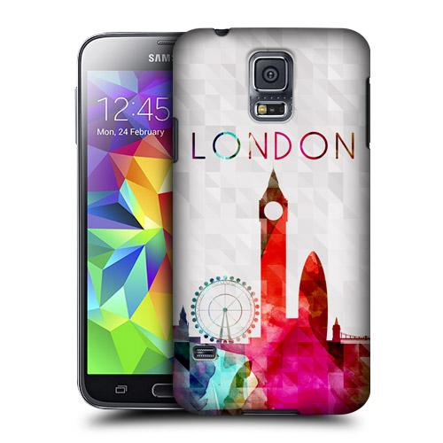 HEAD CASE obal na mobil Samsung Galaxy S5 vzor silueta město Londýn duha
