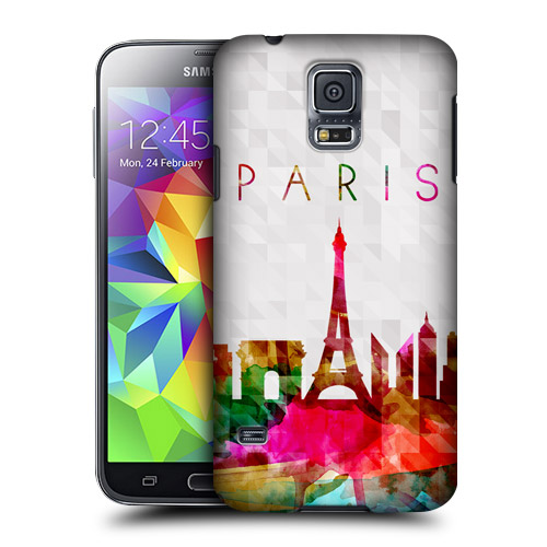 HEAD CASE obal na mobil Samsung Galaxy S5 vzor silueta město Paříž duha