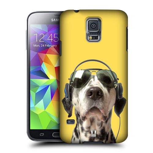 HEAD CASE obal na mobil Samsung Galaxy S5 vzor srandovní zvířátka pejsek se sluchátky žluté pozadí