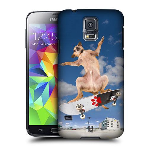 HEAD CASE obal na mobil Samsung Galaxy S5 vzor srandovní zvířátka pejsek skateboardista modré pozad