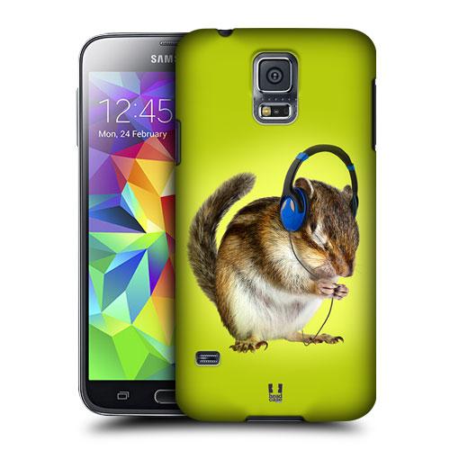 HEAD CASE obal na mobil Samsung Galaxy S5 vzor srandovní zvířátka veverka DJ zelené pozadí