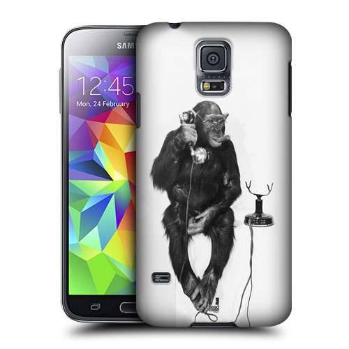 HEAD CASE obal na mobil Samsung Galaxy S5 vzor srandovní zvířátka opice s telefónem