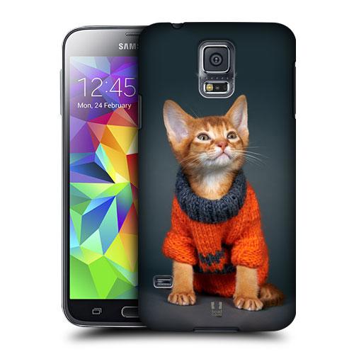 HEAD CASE obal na mobil Samsung Galaxy S5 vzor srandovní zvířátka kočička a oranžový svetr