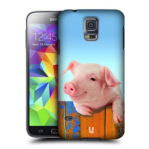 HEAD CASE obal na mobil Samsung Galaxy S5 vzor srandovní zvířátka spokojené prasátko růžová