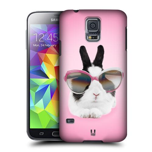 HEAD CASE obal na mobil Samsung Galaxy S5 vzor srandovní zvířátka růžová barva králík fešák