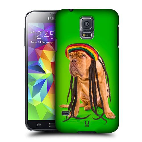 HEAD CASE obal na mobil Samsung Galaxy S5 vzor srandovní zvířátka pejsek rastafarián zelená barva