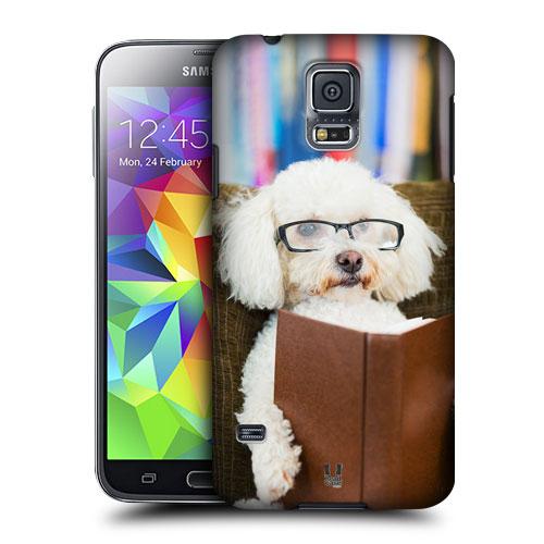 HEAD CASE obal na mobil Samsung Galaxy S5 vzor srandovní zvířátka pejsek sečtělý pudlík bílá barva
