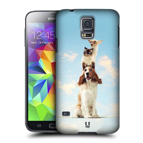 HEAD CASE obal na mobil Samsung Galaxy S5 vzor srandovní zvířátka pejsek a kočička tři akrobati